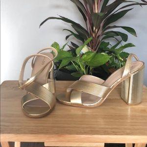 Aldo Gold Ankle Strap Sandals Size 10